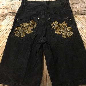 South Pole Dark Wash Black Embroidered Jean Shorts